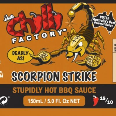 The Chilli Factory Scorpion Strike Stupidly Hot BBQ Chili Sauce Trinidad Scorpion