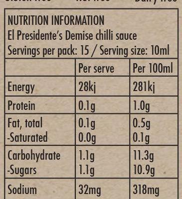 El Presidente's Demise - Nutrition Info